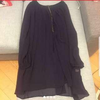 2068紫色雪紡裙