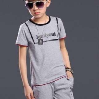 "Kids Baby Boys Gray Box ""Lemiyout"" Summer Outfit T-Shirt + Pants Clothing Set"