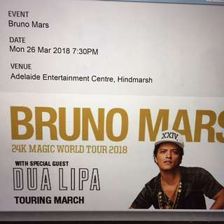 Bruno mars 2x concert tickets seated adelaide