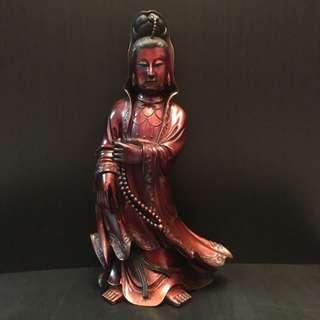"""老木雕 """" 持珠观自在菩萨 """" 高 21寸 宽 11.5寸。                                         -- 非卖品(自供)--"""