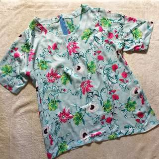 Floral Silk Blouse / Top