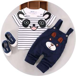 Baby Boys Clothes Bear Short Sleeve Tee + Bib Pants Kids Outfits