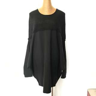 Vintage Black Oversized Patchwork Tunic 復古寬鬆黑色拼接針織連衣裙