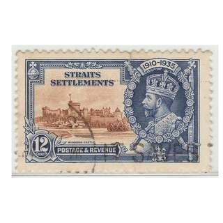 MALAYA 1935 Straits Settlements Silver Jubilee 12c used SG258 (M1369)