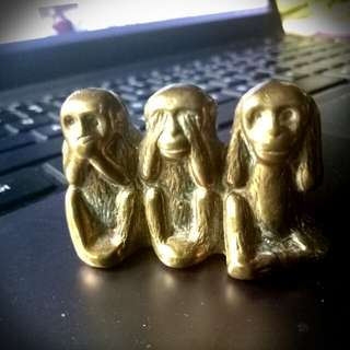 Vintage Brass Monkey See no Evil,Hear no Evil,Speak no Evil