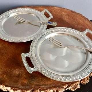 Handled Cake Plate and Teaspoon