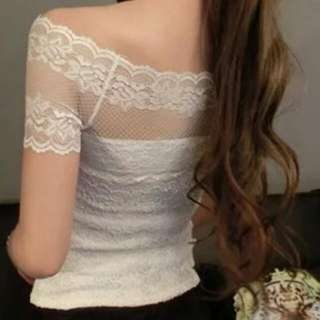 Sexy Off-shoulder White Lace Top
