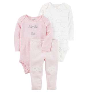 CAGL174 Baby Girls Carter's 3-Piece Heather Little Character Set
