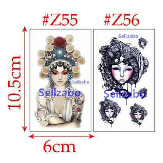 ★Chinese Opera Lady Ladies Fake Temporary Body Tattoos Stickers Sellzabo Colours Colourful #Z55 #Z56