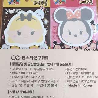 Last SET Each Disney Minnie Mouse Tsum Tsum Alice Post It Pad