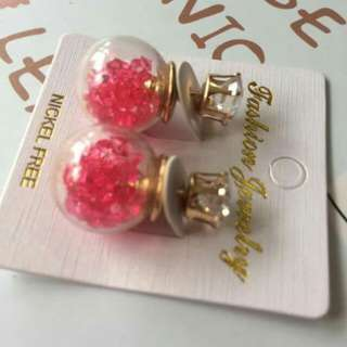 Clear Glass Ball with Hotpink beads earrings stud