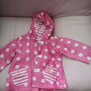 BABY CLOTHES MOTHERCARE LONG SLEEVESS GIRL RAINCOAT FOR 6-12MTHS.