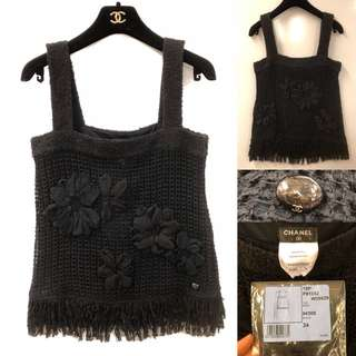 New Chanel black with flowers vest size 34