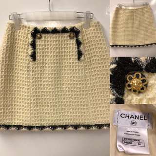 Chanel cream white with black skirt size 34