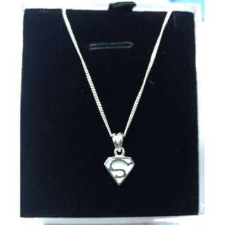 Authentic 925 Italy Silver Superman Necklace