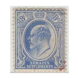 MALAYA 1906 Straits Settlements King Edward VII 8c Used wmk MCCA SG #158 (M1346)