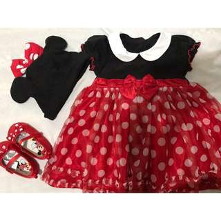 Minnie Mouse Baby's Dress Cap and Shoes