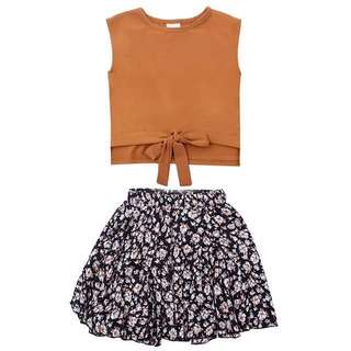 Korean Sleeveless Top with Floral Skirt