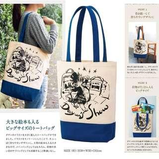 日本雜誌附錄 達洋貓 可愛卡通貓咪拼色帆布購物袋 單肩包 補習袋