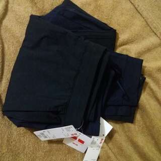 A set of 2~woman dry ex ultra stretch ankle  length pants size l black navy