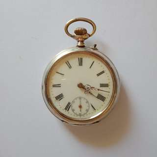Antique silver pocket watch 800 silver with hallmarks