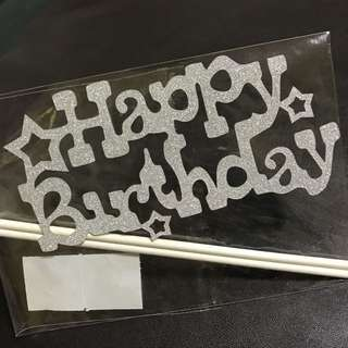 Happy Birthday Cake Top with stars in Silver Glitter Decorations