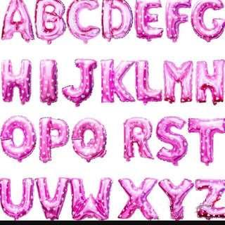 Pink foil alphabet balloon