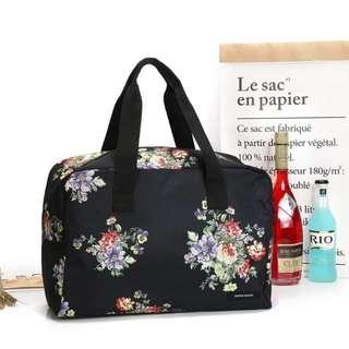 日本SUPER HAKKA日文雜誌附錄 黑色薄荷花香花柄印花波士頓包大容量手提包收納旅行袋