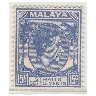 MALAYA 1941 Straits Settlements King George VI 15c Mint NG SG #298  £12 (M1331)