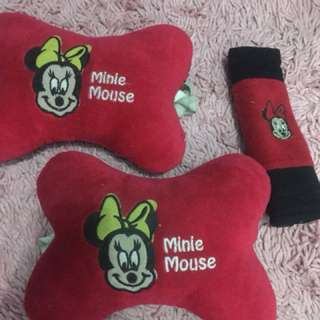 Micky mouse Cushion and seat belt cover