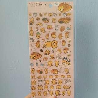 Second Chance Items*San-X Japan - Corone Pan to Hitomichiri Neko theme Stickers (Pink)