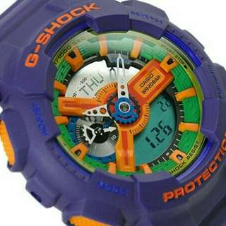 Jam Tangan Pria Casio G-Shock Ga-110 Purple Original Autolight Aktif