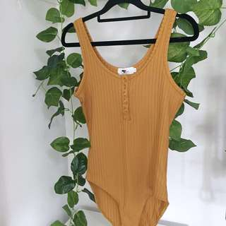 🌻 Yellow Mustard Ribbed Button Bodysuit