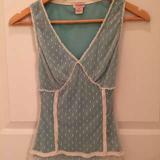 Guess Cream Lace Tank Top Green Lining