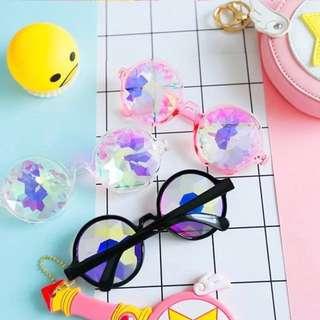 🚚 ✨(粉)閃亮亮馬賽克眼鏡✨🤤萬花筒迷幻鑽石💎網紅直播自拍用超有效果眼鏡!❤️✨🤤】