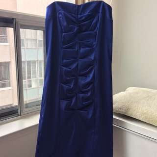 Made in USA Royal Blue Satin Prom Graduation Cocktail Dress