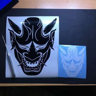 Premium Vinyl waterproof Stickers decal for escooter fixie bicycle luggage motorbike laptop hand phone skateboard notebook scooter car fishing Hannya Mask