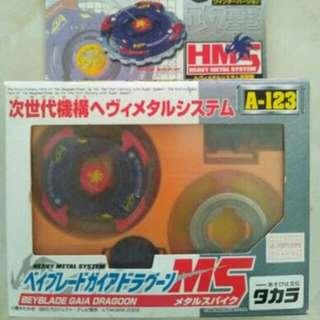 日本製 MADE IN JAPAN 次世代 初世代 爆旋陀螺 A123 A-123 Metal system 合金 GAIA DRAGOON 蓋亞 青龍  2003 絕版罕有