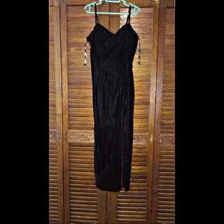 Black Velvet Long Gown With Slit
