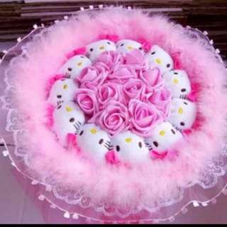 Cute Hello Kitty Plushie Rose Bouquet Flower for Gifts Valentines Day Gifts (11 set of cute Hello Kitty Plushies)