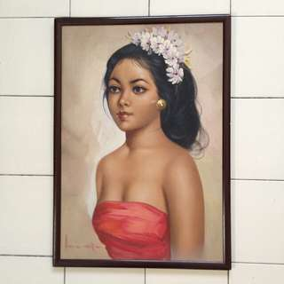 Balinese Girl Oil On canvas Frame Size 61x40cm perfect