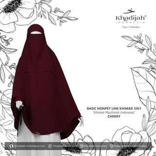 Khimar basic non pet line cherry M by khadijah