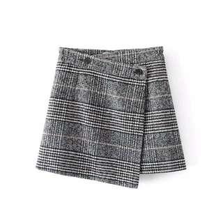 Checkered Wool Skirt
