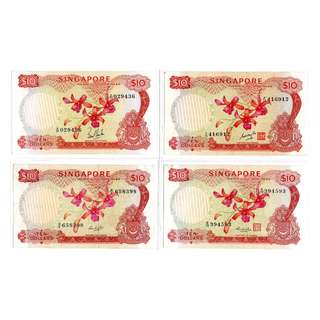 Singapore Orchid Series $10, 4 Signatories Set