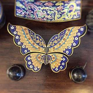 Vintage Chinese cloisonné butterfly display box