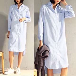 (S~3XL) Long-sleeved blue and white striped long-sleeved shirt in the long section of the loose side of the knee-length shirt skirt