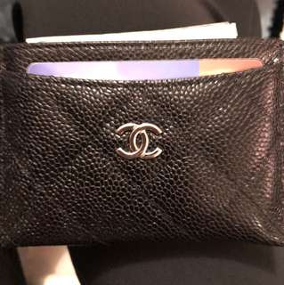 Chanel leather card holder 牛皮銀扣