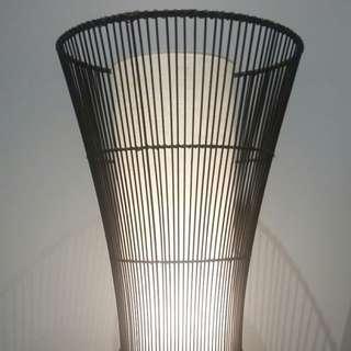 Contemporary 1m Rattan + Fabric Floor Lamp. Black + White