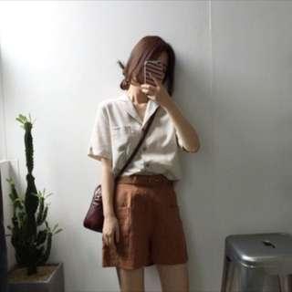 韓版明線設計翻領短袖襯衫