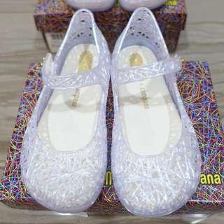 BNIB: US10 Mini Melissa Campana Zig Zag V Holographic White